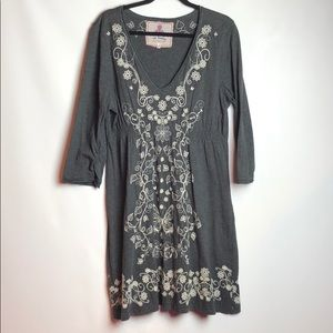 Johnny Was Gray Cotton V-Neck Embroidered Dress